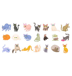 cats icon set cartoon style vector image