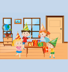 children having party at home vector image