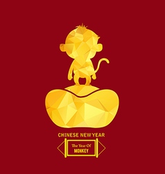 Chinese gold monkey Chinese New Year vector