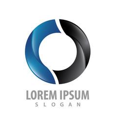 circle shiny black blue logo concept design vector image