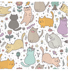 Cute cats in the summer seamless pattern vector