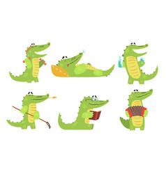 cute crocodile cartoon character in different vector image