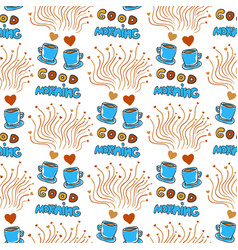 Cute seamless pattern with hand drawn sketchy tea vector