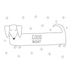 Cute sleeping dachshund antistress coloring book vector