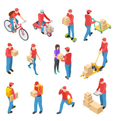 delivery isometric couriers deliveries postman vector image