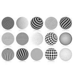 Dotted halftone 3d sphere striped vector