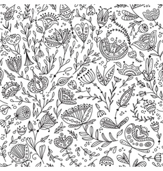 Ethnic floral seamless pattern black lines vector