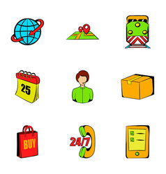Export icons set cartoon style vector