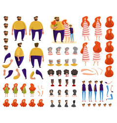family cartoon characters constructor set vector image