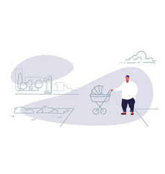 fat obese man with baby in pram walking city urban vector image