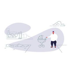 fat obese man with bain pram walking city urban vector image