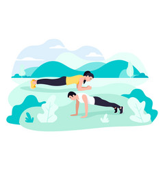 Fit young man and woman exercising doing plank vector