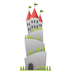 Flat fairy tale castle medieval palace vector