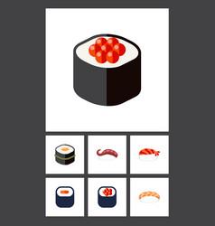 Flat icon sushi set of sashimi seafood eating vector
