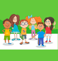 funny cartoon children characters group vector image