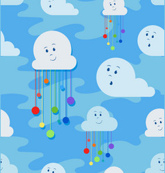 funny clouds and rain from the rainbow vector image