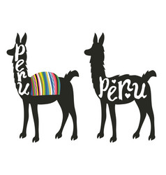 Funny set with llama silhouette vector