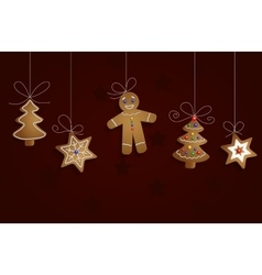 Ginger bread man tree and stars vector image