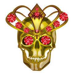 golden human skull decorated with gold and inlaid vector image