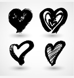 grunge hearts shapes for your design textured vector image