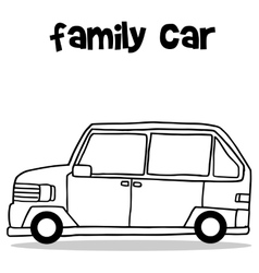 Hand draw of family car transport vector