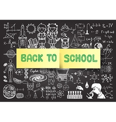 hand drawn education on chalkboardback to school vector image