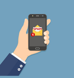 hand holding smartphone with spam email on screen vector image
