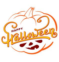 happy halloween text greeting card on orange vector image