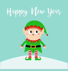 happy new year santa claus elf on snowdrift green vector image