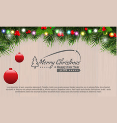 horizontal christmas border frame with fir vector image