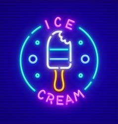 ice-cream at stick neon icon vector image