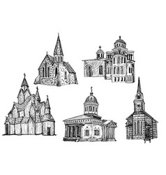Ink hand drawn church icon set vector