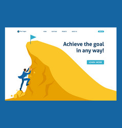 isometric build a career succeed at top vector image