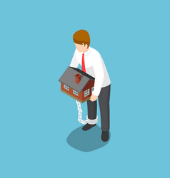 Isometric businessman carrying home that chained vector