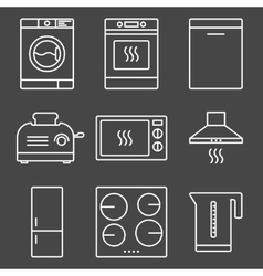 Kitchen appliance white icons vector