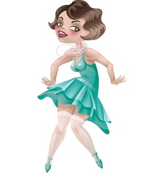 Laughing cute cartoon flapper girl in Art Deco dre vector