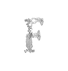 Letter f floral ornament vector