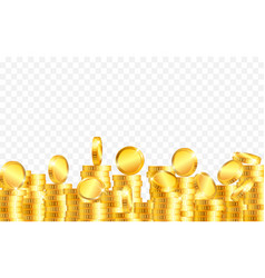 lot gold coins on transparent background vector image
