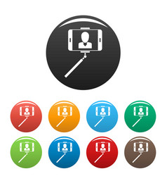 man take selfie monopod icons set color vector image