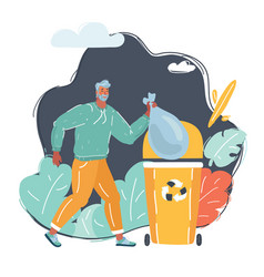 Man with trashcan vector