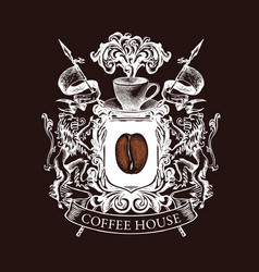 medieval coat arms for coffee house chalk vector image