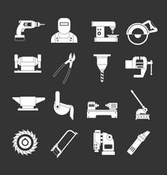 Metal working icons set grey vector