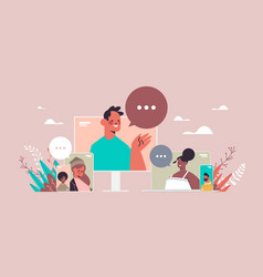 mix race friends chatting during video call people vector image