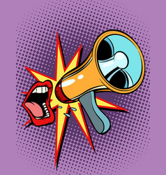 mouth screaming into a megaphone vector image