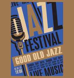 Music poster for jazz festival with microphone vector