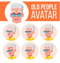 Old man avatar set face emotions senior vector