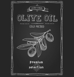 olive oil hand drawn label advertising design vector image