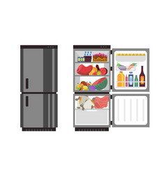 Open and close refrigerator kitchen fridge with vector