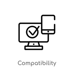 outline compatibility icon isolated black simple vector image