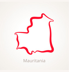 Outline map of mauritania marked with red line vector